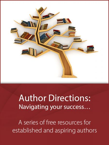 Author Directions: A free series of resources cover image with an image of a bookshelf